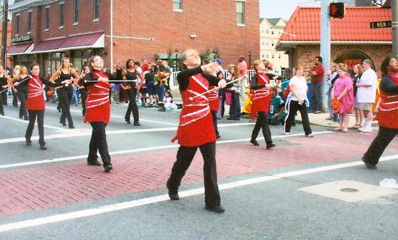 Our baton twirling and our dance corps on parade in Newark, DE